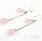 Long Style Manmade Teardrop Pink Crystal Earrings With Fish Hook