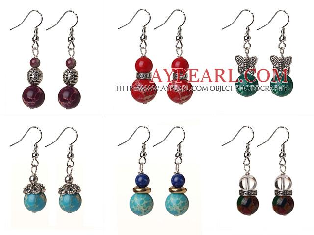 6 Pcs Vintage Design Multi Color Imperial Jasper Earrings