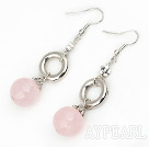 Fashion Round Rose Quartz Loop Metal Flower Charm Dangle Earrings With Fish Hook