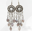 Wholesale Long Style Gray Agate and Crystal Earrings