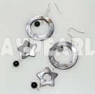 Beautiful Round Black Agate And Donut Hollow Star Shape Shell Dangle Earrings