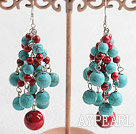 Popular Long Cluster Style Round Bloodstone And Blue Turquose Link Dangle Earrings