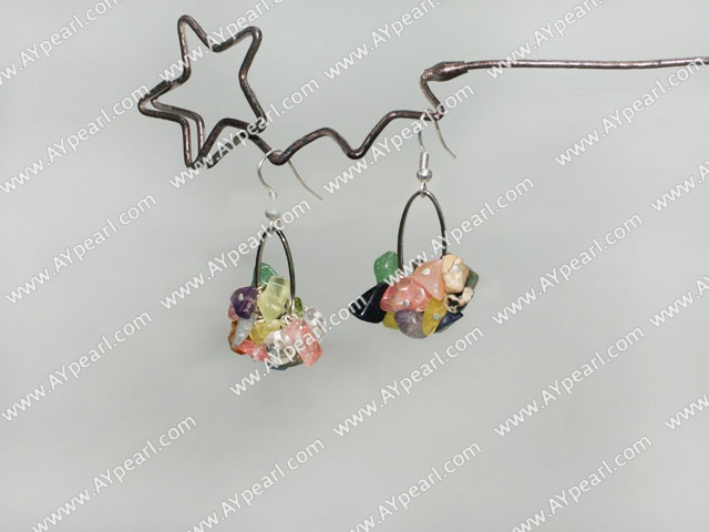 Fashion Multi Color Chips Stone Loop Charm Dangle Earrings With Fish Hook