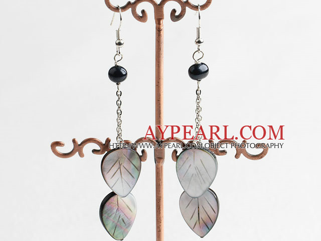 pearl and black lip shell earrings