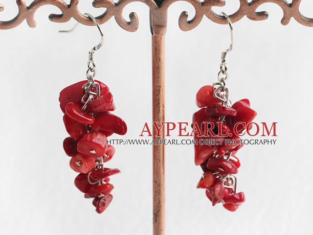 Fashion Cluster Style Mixed Shape Red Coral Dangle Earrings