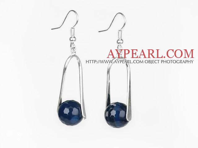 Fashion Faceted Blue Agate Ball Loops Dangle Earrings With Fish Hook