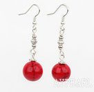 Fashion 14Mm Round Red Bloodstone Ball And Loop Charm Dangle Earrings With Fish Hook
