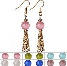 6 Pairs Simple Fashion Style Multi Color Round Cats Eye Stone Dangle Earrings With Golden Accessory