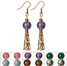 6 Pairs Simple Fashion Style Multi Color Round Semi-Precious Stone Dangle Earrings With Golden Accessory