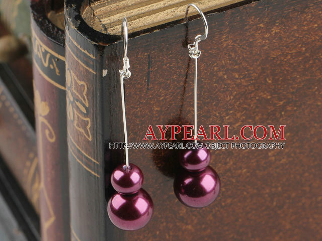 dangling purple acrylic ball earrings