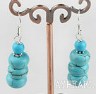 Simple Design Abacus Blue Turquoise Dangle Earrings With Fish Hook