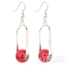 Fashion 12Mm Round Red Bloodstone Ball And Twisted Loop Charm Earrings With Fish Hook