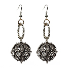 Vintage Style Black Rhinestone Dangle Earrings