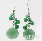 Wholesale Dangle Style Round Shape Aventurine Earrings