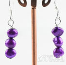 Enkel stil Dangle Dark Purple Pearl øredobber