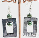 Fashion Green Freshwater Pearl And Black Hollow Rectangle Shell Dangle Earrings
