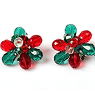 Fashion Style Red and Green Crystal Flower Clip Earrings