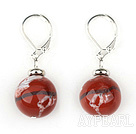 Cute Style 12Mm Round Red Jasper Ball Drop Earrings With Lever Back Hook