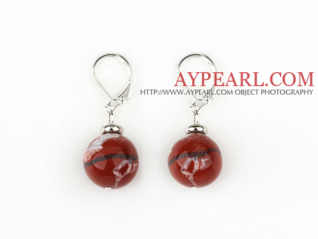 cute style 12mm red jasper earrings