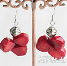 Fashion Cluster Style Drop Shape Red Coral And Metal Charm Dangle Earrings With Fish Hook