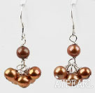 Dyed Golden Brown Color Freshwater Pearl Earrings