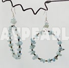 Large Diameter Aquamarine Chips Beaded Loop Dangle Earrings With Fish Hook