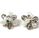 Fashion Style Gray and White Crystal Flower Clip Earrings