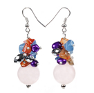 Beautiful Design Pink Rose Quartz Cluster Purple Pearl Black Crystal Multi Color Stone Chips Dangle Earrings