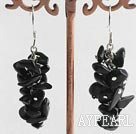 cluster style black stone cgips earrings