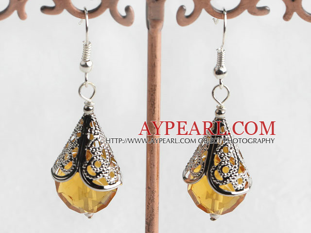 Lovely Short Style Citrine Ball And Horn Metal Charm Dangle Earrings With Fish Hook