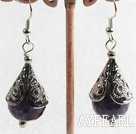 Wholesale natural faceted amethyst earrings
