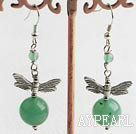 Hot Round Aventurine And Dragonfly Charm Dangle Earrings With Fish Hook