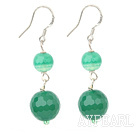 Elegant Faceted Round Malaysian Jade Dangle Earrings With Fish Hook