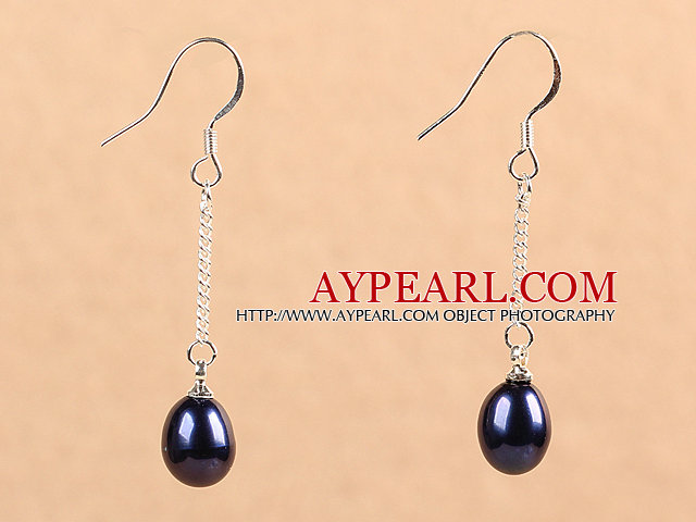 Simple Fashion Black Natural Freshwater Pearl Dangle Earrings