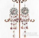 chandelier shape beautiful pink 4-7mm pearl earrings
