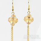 New Design Long Style Yellow Colored Glaze Charm Earrings
