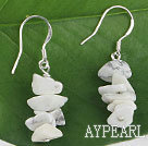 Wholesale finely carved white turquoise chips earrings
