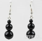 Simple Style Round Shape Black Agate Earrings