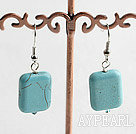Popular Simple Style 14*18 Oblong Shape Blue Turquoise Dangle Earrings