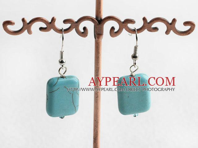 Popular Simple Style 14*18 Oblong Shape Blue Turquoise Dangle Earrings