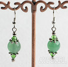 Beauitful Green Series Crystal And Round Aventurine Dangle Earrings