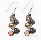 Wholesale Favorite Brown Freshwater Pearl And Smoky Quartz Cluster Dangle Earrings With Fish Hook