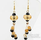 New Design Yellow and Black Crystal Charm Earrings
