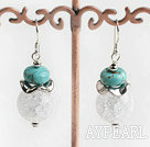 Wholesale butst pattern turquosie and crystal earrings