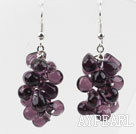 Wholesale New Design Purple Color Drop Shape Crystal Cluster Earrings