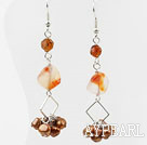 Wholesale Dangle Style Brown Freshwater Pearl and Agate and Crystal Long Earrings
