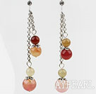 Wholesale Dangle Style Round Three Color Jade Long Earrings with Metal Chain