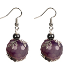 Classic Design Fashion Purple Agate Beads Dangle Earrings