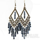 Vintage Style Black Gray Crystal Earrings