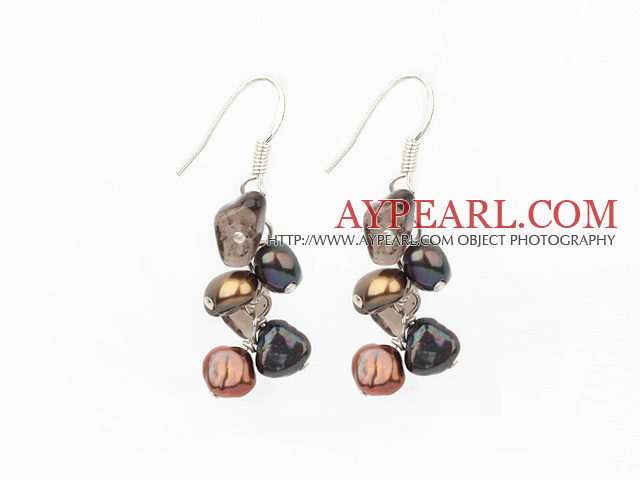 Favorite Brown Freshwater Pearl And Smoky Quartz Cluster Dangle Earrings With Fish Hook